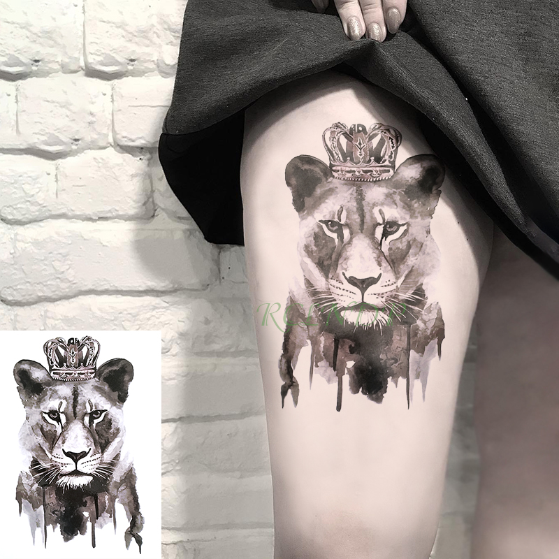 Waterproof Temporary Tattoo Sticker Lion Queen Crown Animal Tatto Flash Tatoo Fake Tattoos Hand Leg Arm for girl Men Women
