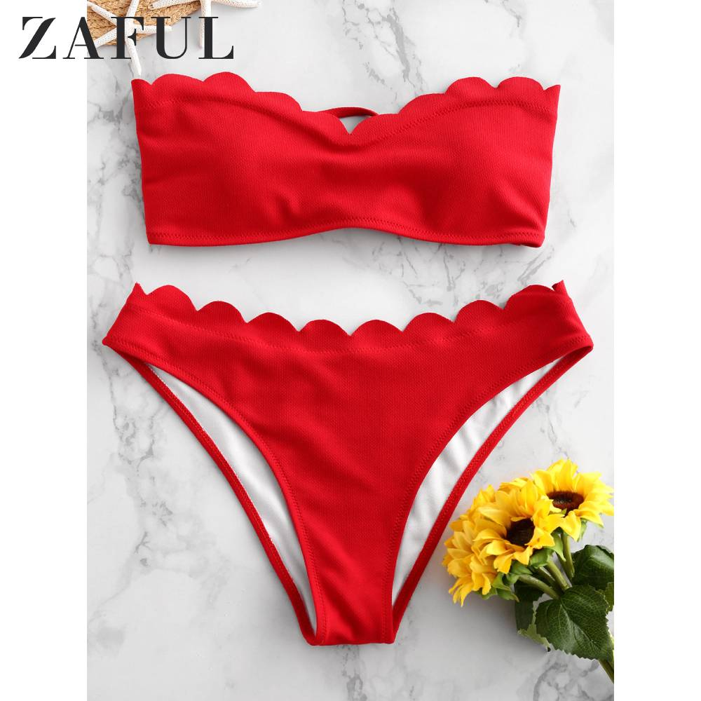 ZAFUL Textured Scalloped Sweetheart Bandeau Bikini Swimsuit For Women Wire Free Lace Up Removable Padded Two-Piece Bikini Sexy