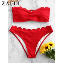 ZAFUL Textured Scalloped Sweetheart Bandeau Bikini Swimsuit For Women Wire Free Lace Up Removable Padded Two-Piece Bikini Sexy lace up front sweetheart neck plaid bandeau top