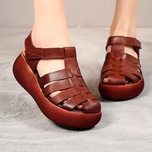 AIYUQI Women Gladiator Sandals 2020 New Summer Genuine Leather Retro Casual Fashion Shoes