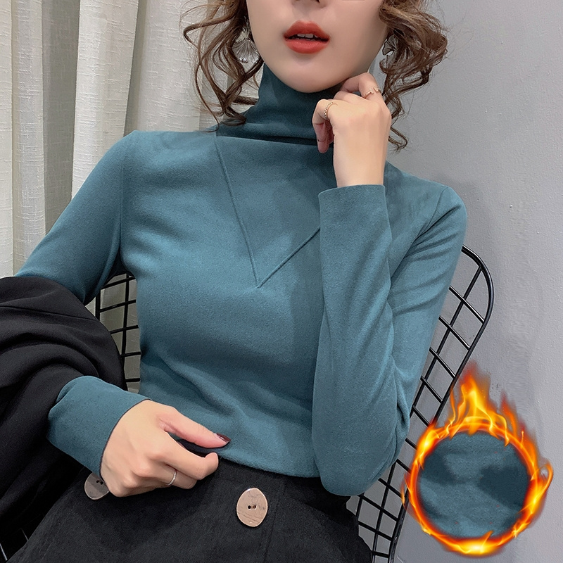 Turtleneck Brushed Sanding T shirt Women Solid Cotton Tops Stretchy Long Sleeve Autumn Winter T shirt Tee Bottoming T9N391 T-Shirts    - AliExpress