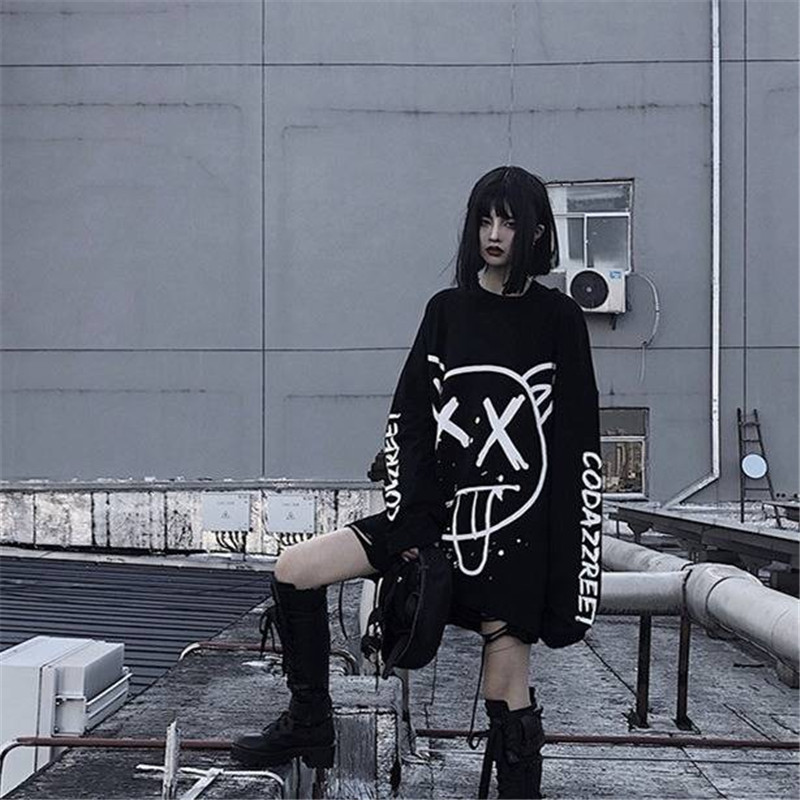 Cool Women Fashion Korean Oversized Long Sleeve T Shirt Hip Hop Punk Streetwear Girls Tees Autumn Black Loose T Shirt Females