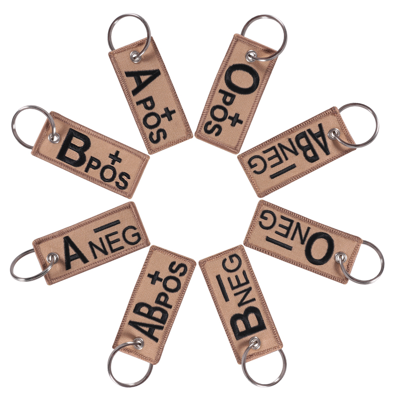 Blood Type Keychains Chapter A+B+AB+O+ Front POS Negative NEG Blood Type Group Tactical Military Emergency Keychain