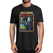 Scream filme fantasma rosto vamos assistir filmes de terror filme de terror masculino 100% algodão camiseta feminino macio