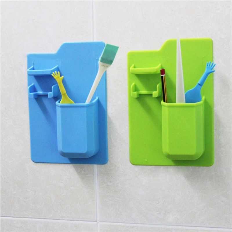 Silicone Waterproof Toothbrush Holder Bathroom Accessories Toothpaste Shelf Wall-Mounted Toiletry Organizer Tooth Brush Holder