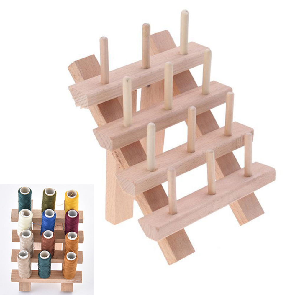 Wooden Shelf Bobbin Holder Sewing Embroidery Reel Collection Storage Space Wooden Thread Organizer DIY Arts Crafts