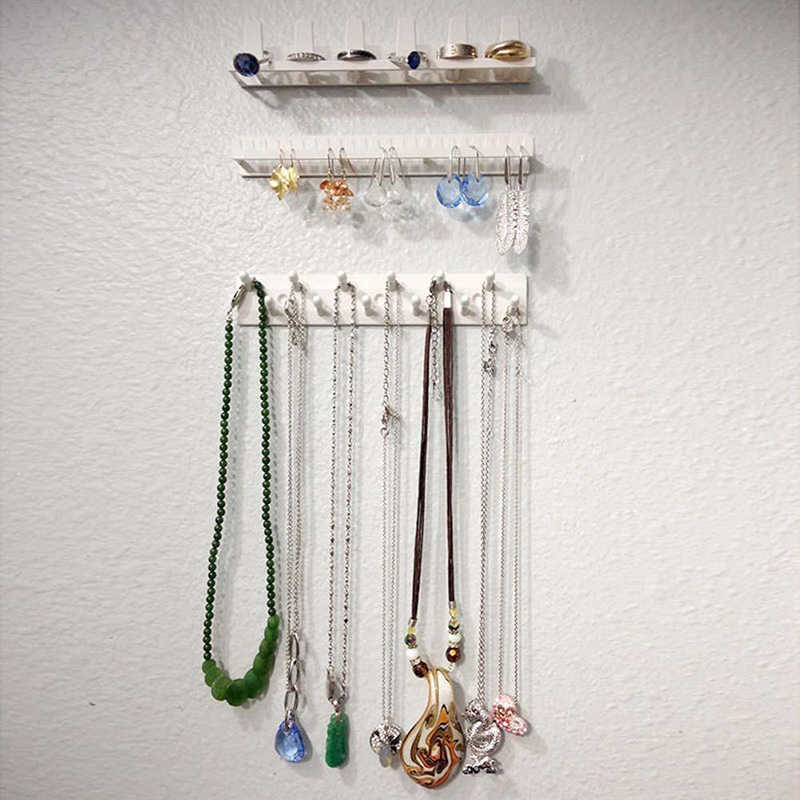 Kleber Schmuck Organizer 9-in-1 Lagerung Rack Halskette Bolzen Ohrring Display Halter Wand Hängen Closet Schmuck Lagerung rack