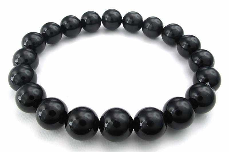 GTBL bijoux hommes Bracelet, 10mm Agate bijoux énergie Bracelet énergie pierre boule noir