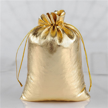 50pcs Golden/Silver Color Drawstring Dust-proof Pouches Jewelry Gift Delicate Soft Smooth Stronge Hot Popular Bag13x18cm 17x23cm