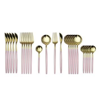 24pcs Cutlery Stainless Steel Tableware Kitchen Cutleri Fork Gold Utensils Dinnerware Set Black Knife Knives Spoon Dinner Travel - China, Pink Gold