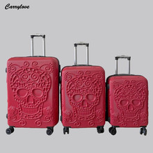 Bag-Set Expandable Trolley Case Rolling-Luggage Skull-Suitcase Large 3pieces Carrylove