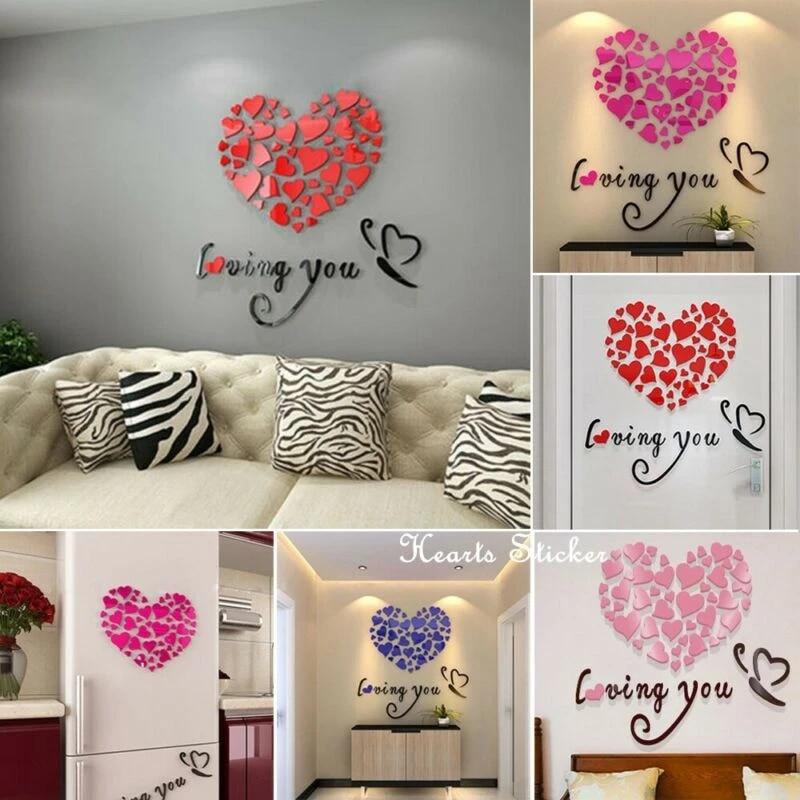 3D DIY Love Heart Mirror Wall Sticker Stick on Decal Home Bedroom Decor Art