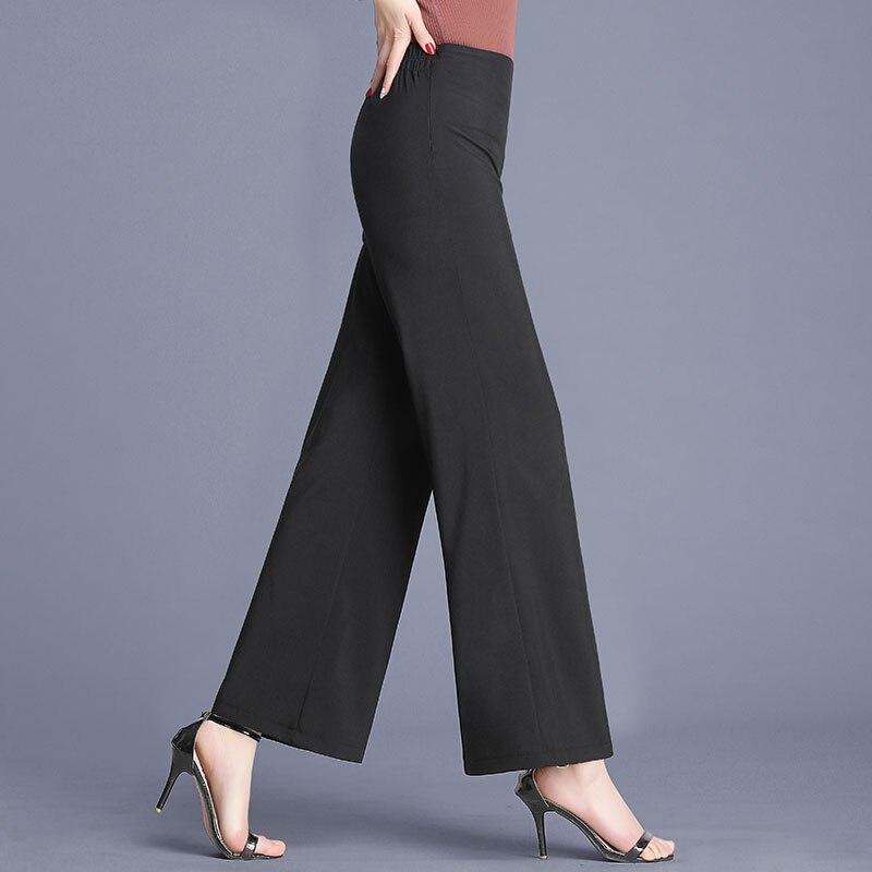 Spring Autumn Long   Wide     Leg     Pants   Black Plus Size   Pants   Womens Hight Elastic Waist Office Ladies Fleece Loose Midi Trousers