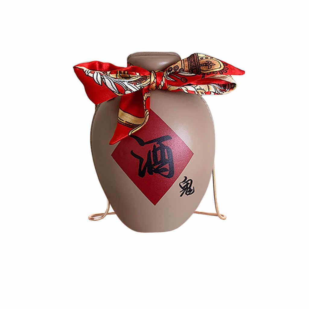 Maioumy designer engraçado garrafa de vinho saco do mensageiro personalidade legal childlike corrente bolsa de ombro elementos retro chinês pequeno saco