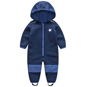 Image 2 - Childrens soft shell plus velvet integrated windproof and rainproof jumpsuit Childrens waterproof jumpsuit, warm jumpsuit,