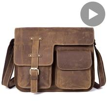 Bandolera de viaje para hombre y mujer, maletín de cuero genuino para documentos, bolso grande, para ordenador portátil y tableta