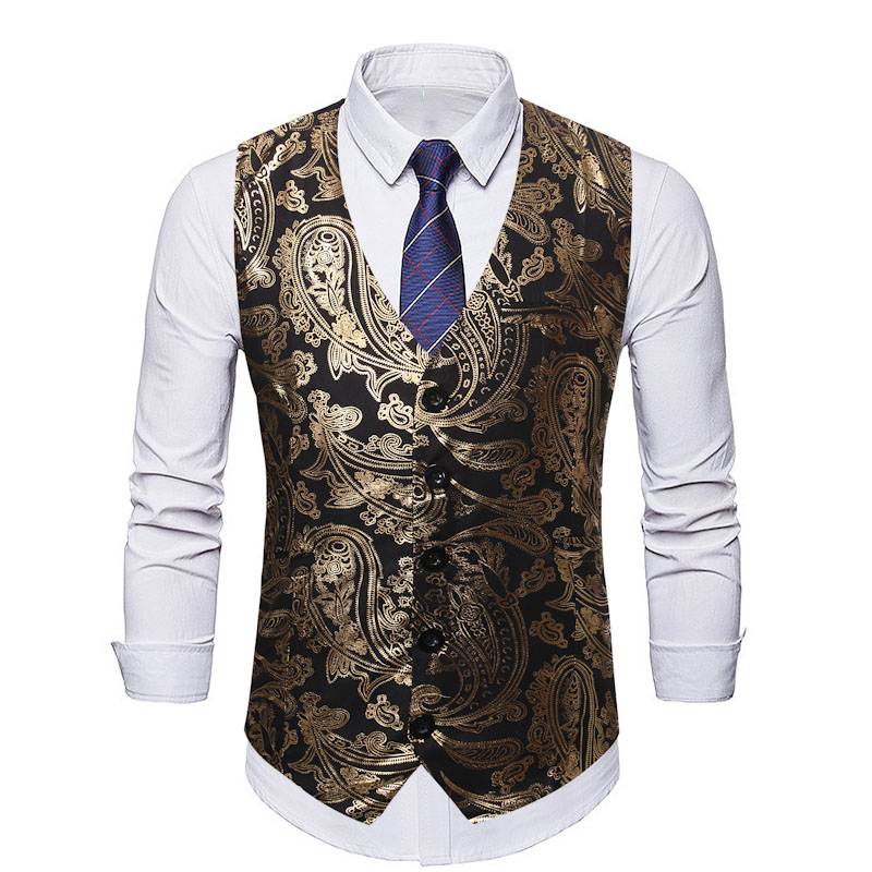 Men Paisley Jacquard Vest Luxury Shiny Brozing Mens Suit Vest Nightclub Men Vest Waistcoat Business Wedding Stage Gilet Homme