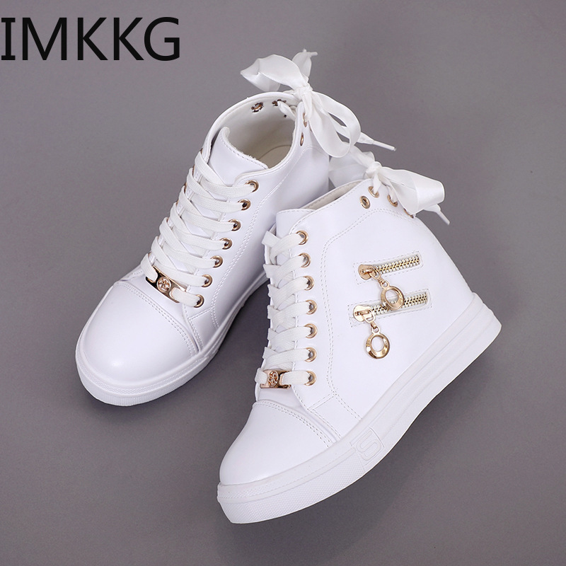 Women Sneakers 2019 Women Casual Shoes Zipper Height Increasing Breathable High Top Women Walking Flats Trainers Shoes Y10284