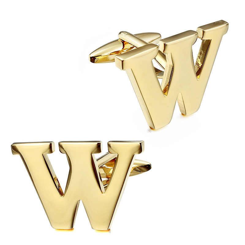 HAWSON קלאסי זהב אלפבית חפתים לגברים אופנה חולצה סיטונאי מסין