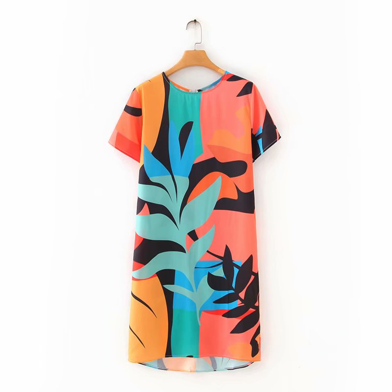 New 2020 women vintage o neck short sleeve colorful graffiti straight dress lady chic country style casual mini vestidos DS3596
