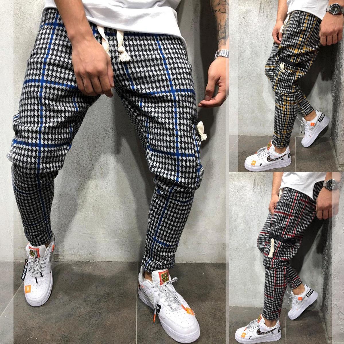 Fashion Men Plain Casual Regular Fit High Waist Pencil Pants Gentlemen Ankle Length Trousers Straight Leg Joggers