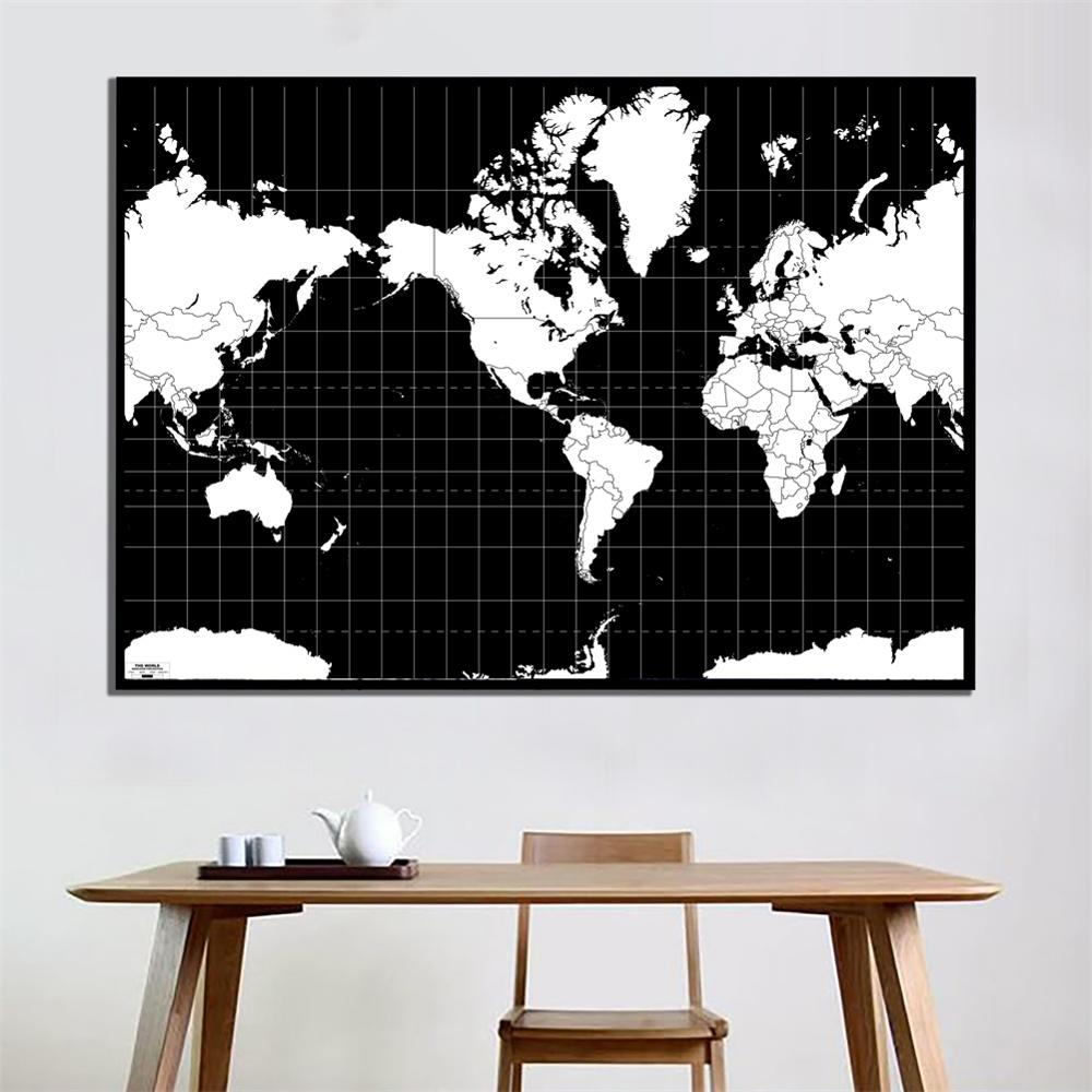 60x90cm Black And White Version World Projection Map For Bedroom Living Room Home Wall Decor
