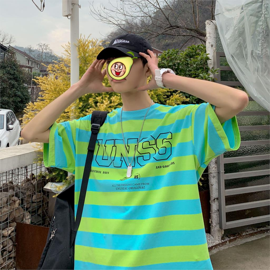 Privathinker 2020 O-Neck Yellow Striped Tshirt For Men's Summer Harajuku Casual T-Shirt Male Men T-shirts Korean Tops Clothes