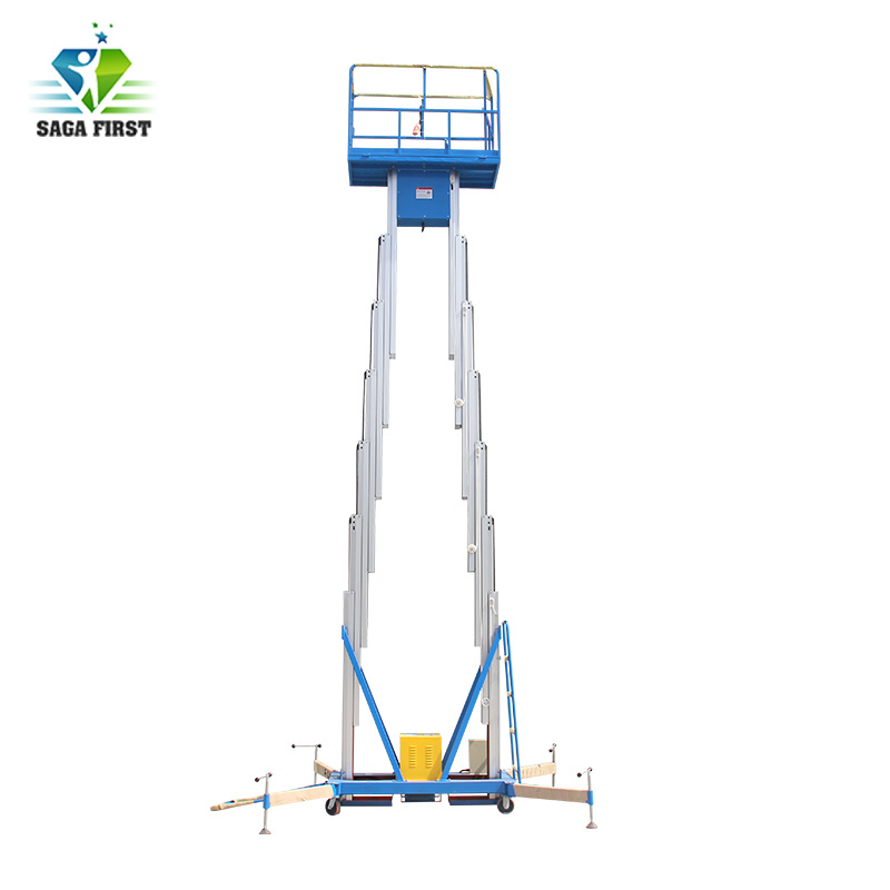 2017 New SINOFIRST Good Quality Factory Price Dual  Mast Aluminum Lift Manlift  For Hot Sales Factory Price