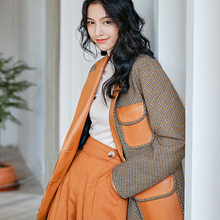 High Quality New Designer Blazer Coat Women Turn Down Collar Leather Patchwork Coat Female Slim Long Blazer Jacket(China)
