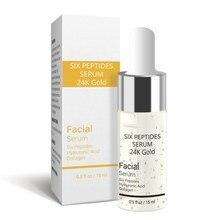 Us stock anti-envelhecimento hidratante cuidados com a pele clareamento iluminar líquido 24k ouro cuidados faciais seis peptide essência soro