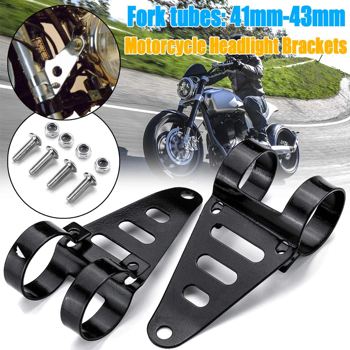 Universal Motorcycle Headlight Mount Brackets 41-43mm Fork Tube Mount Clamp Bracket Holder Adjustable Easy To Install