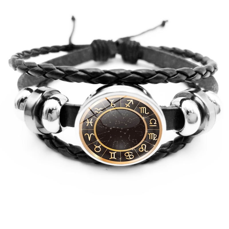 Heat! New 12 Constellation Pattern Imprint Compass Bracelet Glass Bullet Round Buckle Black Gift