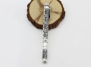 Image 3 - الفضة النقية اللون الاسترليني 925 الفضة اللون قلم هدية للرجال خمر منحوتة مخرمة الأعمال قلم حبر جاف قلادة مجوهرات