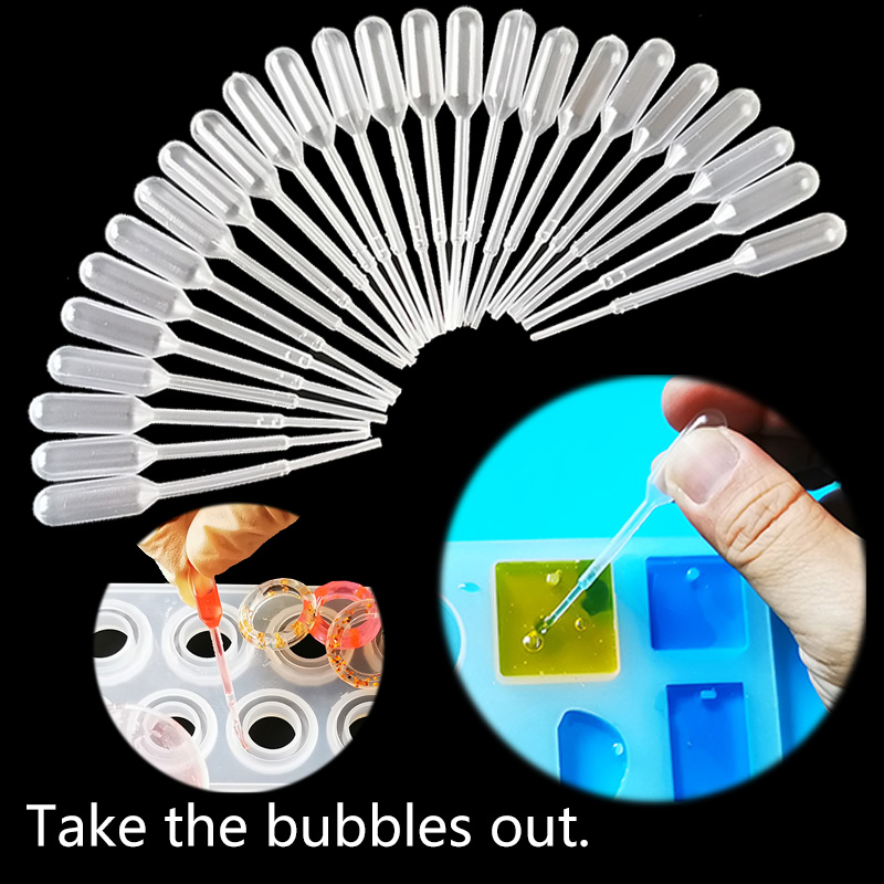 QIAOQIAO Plastic Resin Jewelry Tools Disposable Transfer Pipettes Clear For Silicone Mold UV Epoxy Resin Craft Jewelry Making
