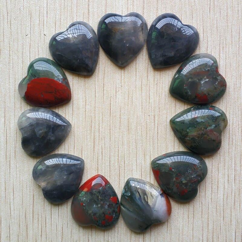Novo de Boa Beads para Fazer Jóias da Forma do Coração Qualidade Natural Bloodstone Pedra Cab Cabochão 25mm Atacado 10 Pçs – Lote Livre 2020
