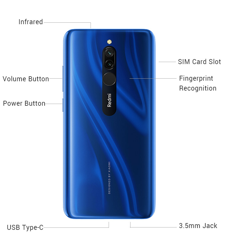 Image 2 - New Global Version Xiao Redmi 8 Smartphone 4GB RAM 64GB ROM Snapdragon 439 10W Fast Charging 5000 mah Battery Cellphone-in Cellphones from Cellphones & Telecommunications