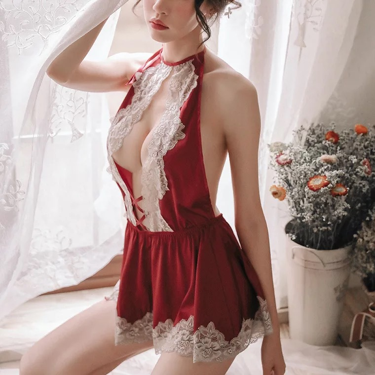 Summer Bow Lace Nightgown Transparent Hollow Out Beauty Back Hot Temptation Short Skirt Pajamas Women's