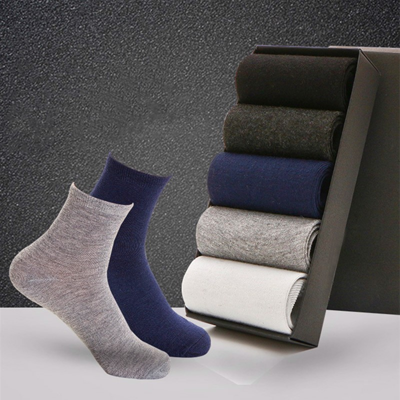 5 Pairs High Quality Men Business Casual Cotton Socks Spring Summer Autumn Winter Solid Colors Crew Socks Male Breathable Socks