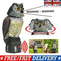 Realistico Uccello Scarer Testa Rotante Suono Gufo Prowler Decoy Protezione Repellente Pest Control Spaventapasseri Giardino Yard Spostare