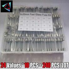 240Pcs/Box 24Values 6x30mm Fast Glass Fuse Kit In Package 0.2A 0.5A 1A 2A 3A 5A 6A 8A 10A 15A /250V 6*30 Insurance Tube Package