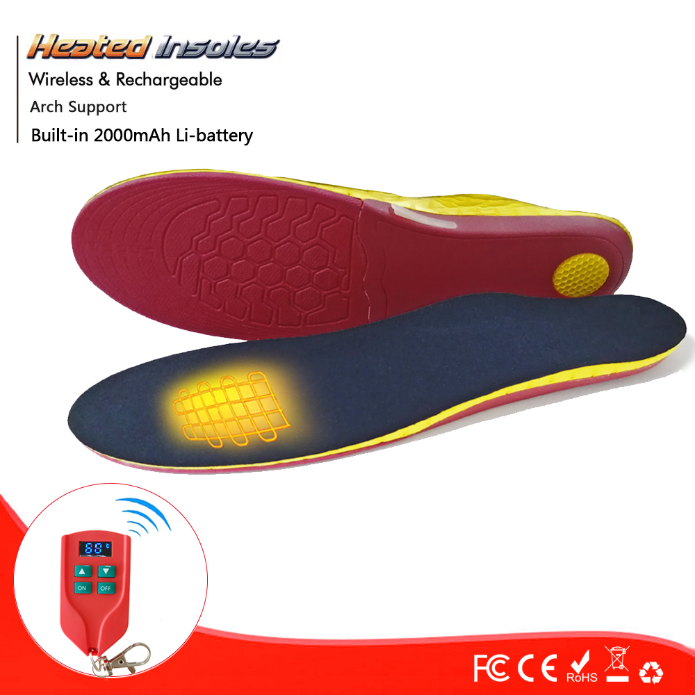 Electrically Heated Thermal Arch Support 2000mAh with Rechargeable Battery Heated Insole Winter Shoes Pads For Skiing
