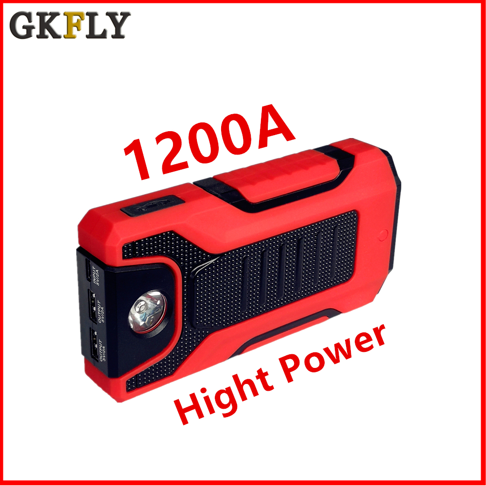 GkFLY Car Jump Starter 1200A Emergency Booster  Starting Device Portable Charge Auto Battry New Power Bank LED SOS 12V