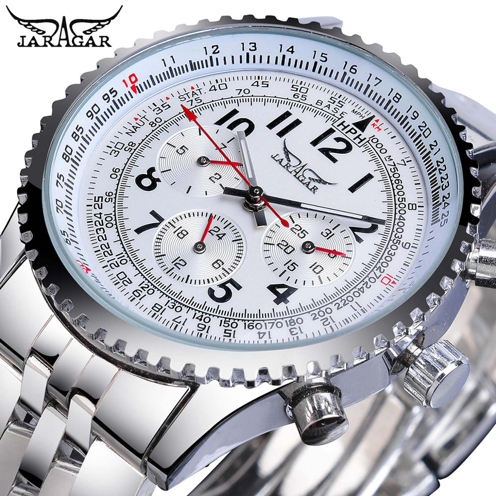 Jaragar Brand Luxury Mechanical Mens Watches Automatic Silver 3 Sub Dial Calendar Masculino Sport Business Stainless Steel Clock