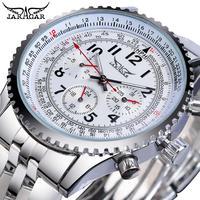 Jaragar marca de luxo relógios mecânicos dos homens automático prata 3 sub dial calendário masculino esporte negócio aço inoxidável relógio