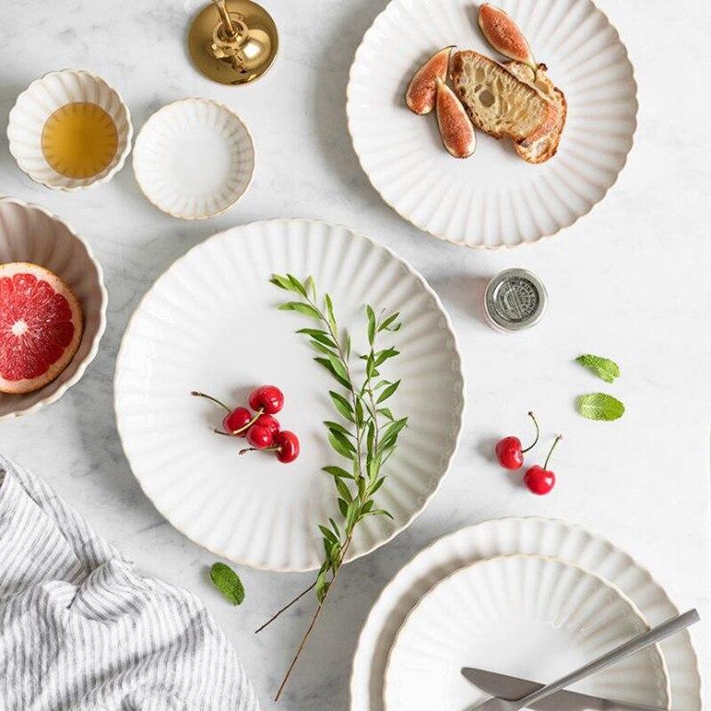Retro Weiß blütenblatt Abendessen Platte Keramik Küche Platte Geschirr Set Speisen Reis Salat Nudeln Schüssel Suppe Küche Kochen Werkzeug