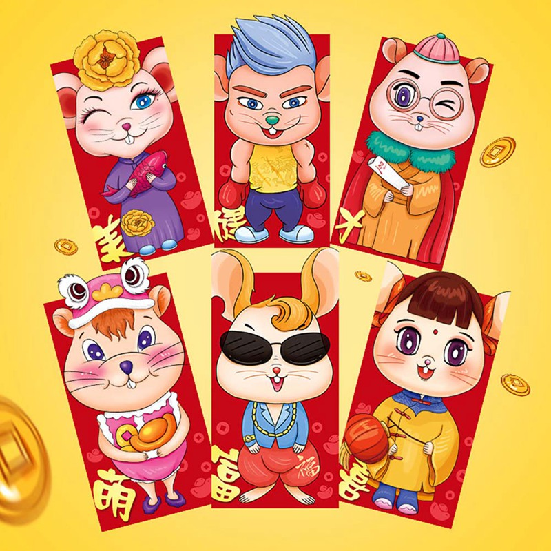 6pcs/set Chinese New Year Red Money Envelope Year Of The Rat 2020 Cartoon Packet