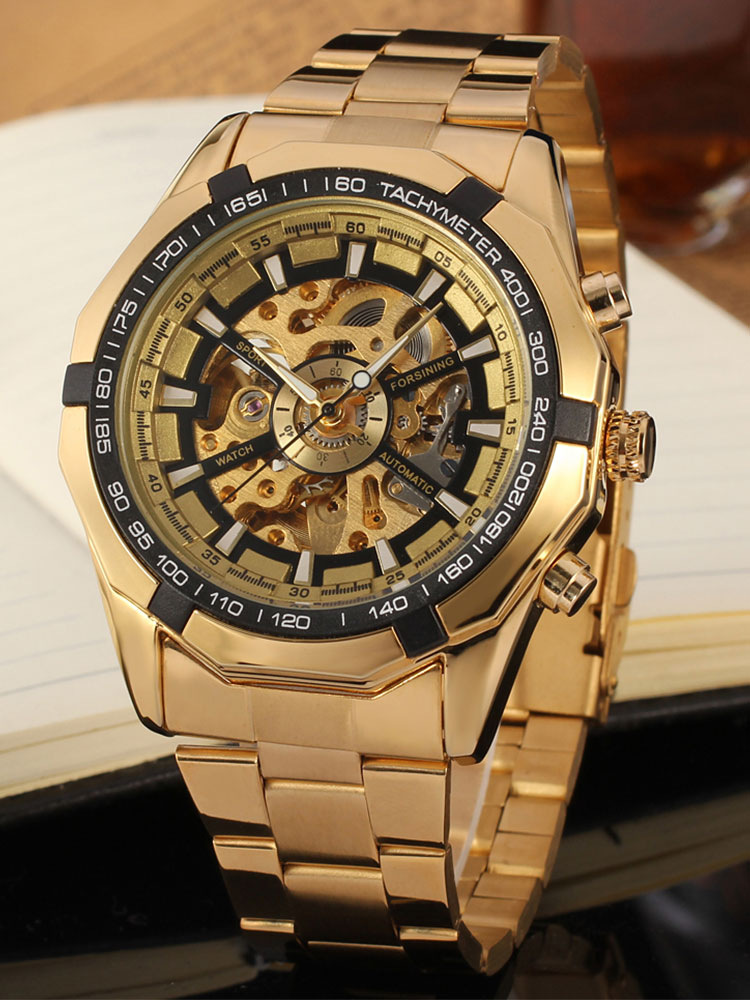 FORSINING Clock Mechanical-Watches Watch-Luxury-Skeleton Stainless-Steel Gold Men's Automatic