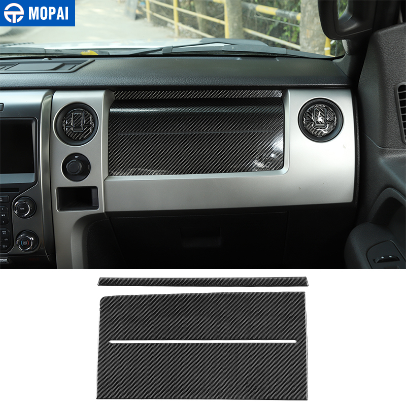 MOPAI Carbon Fiber Car Co-pilot Airbags Panel Dashboard Decoration Cover <font><b>Stickers</b></font> Accessories for <font><b>Ford</b></font> F150 <font><b>Raptor</b></font> 2009-2014 image