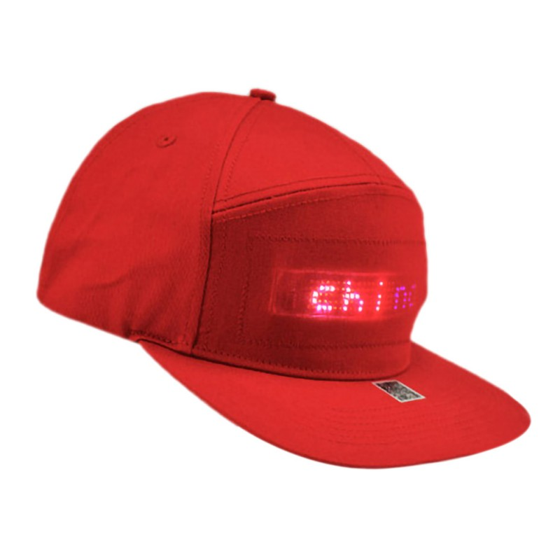 New USB Idea LED Display Cap Smartphone App Controlled Glow DIY Edit Text Hat Base all Cap USB Cap party rave image