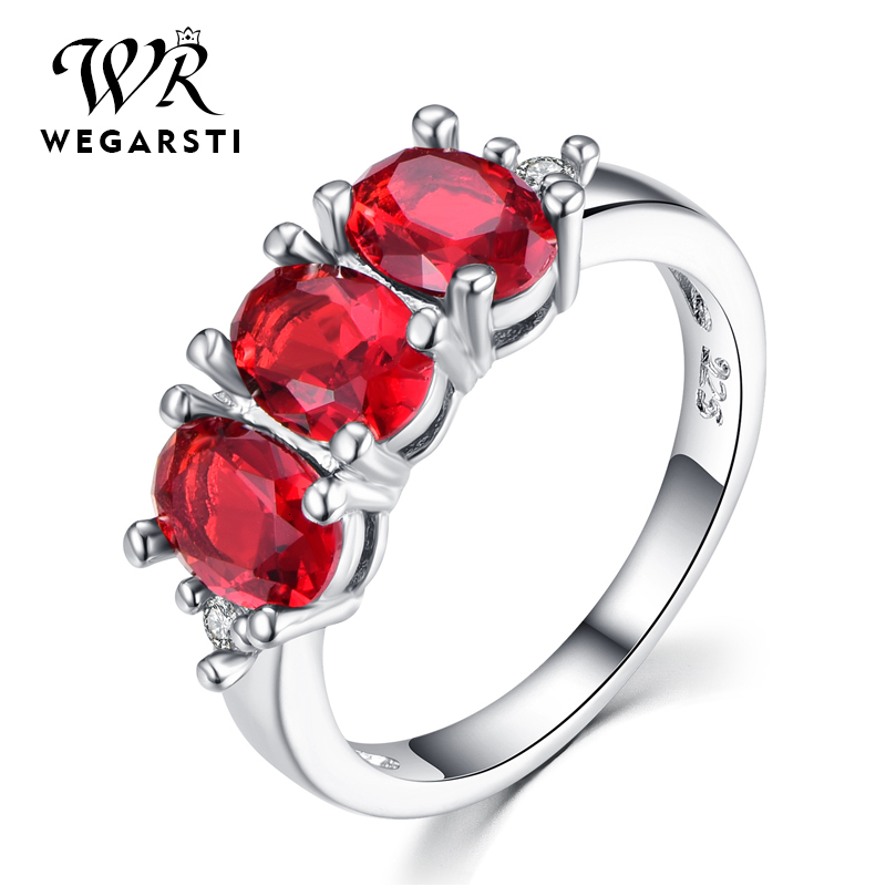 WEGARASTI Silver 925 Jewelry Ruby Ring Silver 925 Women's Trendy Natural Red Gemstone Rings Party Wedding Ring Fine Jewelry